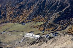 Kurzras Maso Corto - das Skiort Val Senales Glacier Schnalstaler Gletscher lizenzfreies stockfoto