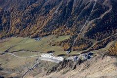 Kurzras Maso Corto - la estación de esquí Val Senales Glacier Schnalstaler Gletscher foto de archivo libre de regalías
