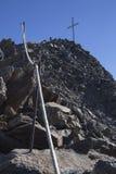 Kurzras Maso Corto - la estación de esquí Val Senales Glacier Schnalstaler Gletscher con Grawand máximo fotografía de archivo