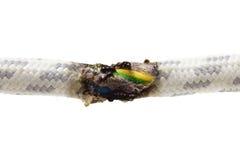 Kurzschluss, gebranntes Kabel Stockfotos