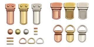 Kurzwarenzusätze Gesetzte Metallverschlüsse für Taschen stock abbildung