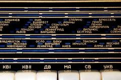 Kurzwelleradiopanel mit kyrillischen Zeichen Stockbild