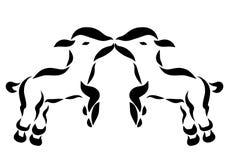 Kus de kleine vermakelijke lammeren of de geiten royalty-vrije illustratie
