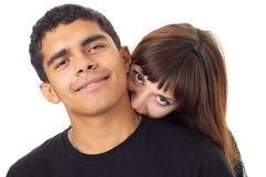 Kus. houdend van paar op een witte achtergrond stock afbeeldingen