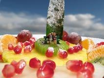 Kus op vruchten Royalty-vrije Stock Fotografie