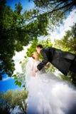 Kus van bruid en bruidegom royalty-vrije stock fotografie