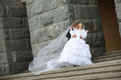 Kus van bruidegom Stock Foto's