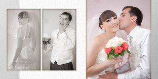 Kus van de bruidegom en de bruid in hun huwelijksdag Stock Afbeelding