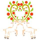 Kus van mooie lammeren en hart van takjes met vruchten vector illustratie