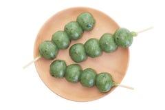 Kusa dango, mugwort-flavored rice dumpling Royalty Free Stock Photography