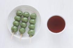 Kusa dango, mugwort-flavored rice dumpling Stock Photo