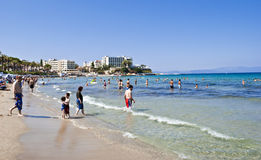 Kusadasi beach. Ladies Beach, Kusadasi - one of the most popular beaches on the Turkish Aegean Coast Stock Photo
