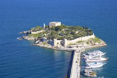Kusadasi castle and port, Turkey Royalty Free Stock Photos