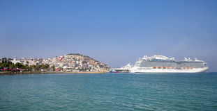 Kusadasi harbor and cruise ships Stock Images