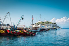 Kusadasi Harbour. The harbour of Kusadasi, Turkey. View showing both fishing and pleasure boats with Pigeon Island in the background Stock Photos