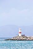 Kusadasi lighthouse. The Kusadasi bay lighthouse in Turkey, Aegean Sea Royalty Free Stock Images