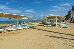 KUSADASI, TURKEY - AUGUST 21, 2017: Pamucak, Ephesus Beach. View from the Palm Wings Ephesus Beach Resort royalty free stock photo