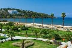 KUSADASI, TURKEY - AUGUST 21, 2017: Pamucak, Ephesus Beach. View from the Palm Wings Ephesus Beach Resort royalty free stock images