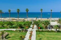 KUSADASI, TURKEY - AUGUST 21, 2017: Pamucak, Ephesus Beach. View from the Palm Wings Ephesus Beach Resort stock images