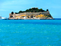 Kusadasi, Turkey - June 09, 2015: Pigeon Island. With a Pirate castle. Kusadasi harbor, Aegean coast of Turkey royalty free stock photos