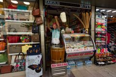 KUSADASI, TURKEY - MAY 23, 2015: A man in traditional Turkish costume sells ice cream on the street in Kusadasi, Turkey stock photos
