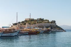 Port and medieval fortress in Kusadasi stock photos