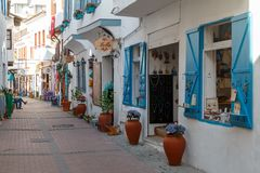 Trade touristic street in the centre of Kusadasi. KUSADASI / TURKEY - MAY 2015: Trade touristic street in the centre of Kusadasi, Turkey royalty free stock photography