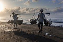 Kusamba salt farmer Bali Stock Images