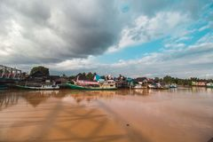 Beautiful River and Traditional Boat stock image
