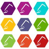Kusarigama icon set color hexahedron Stock Image