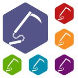 Kusarigama icons set hexagon Stock Images