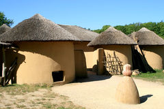 Kusasi houses of Ghana. Houses like these can be found in Tempane, in the north-east of Ghana. Traditional elements are the roundings and the failure of a door stock photo