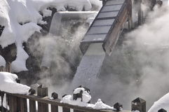 Kusatsu Hot-Spring Japan. This picture is taken during  winter season that shows hot-spring in a mountainous area of Kusatsu in Japanese alps. The water was Stock Images