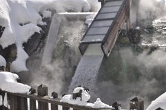 Kusatsu hot-spring japan. This picture represent the cooling methodology for hot-spring water in Kusatsu Resort area which is located in Japanase mountainous Stock Images