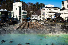 Kusatsu onsen. Famous hot spring with yubatake - hot water spring in the center of the town Stock Image