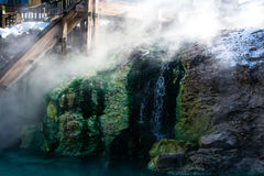 Kusatsu onsen. Famous hot spring with yubatake - hot water spring in the center of the town Stock Photos