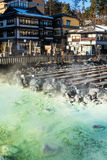 Kusatsu onsen. Famous hot spring with yubatake - hot water spring in the center of the town Royalty Free Stock Image