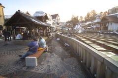 Kusatsu Onsen ist eins von Japan-` s die meisten berühmten Erholungsorte der heißen Quelle und wird mit großen Volumen Wasser der Lizenzfreie Stockfotografie