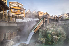 Kusatsu Onsen is one of Japan most famous hot spring. Resorts and is blessed with large volumes of high quality hot spring water said to cure every illness but Stock Images