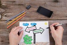 Kuschelecke - Erfolgswegweiser gezeichnet auf Weißbuch lizenzfreie stockfotos