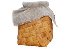 Kushel - old russian braided birch-bark purse. Over white stock photos