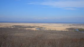 Kushiro Shitsugen national park in Hokkaido in spring day. View from Hosooka observation deck, the largest wetland in Japan. The park is known for its wetlands stock footage