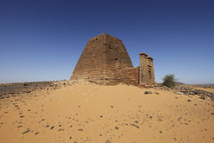 Kushite pyramid of Meroe. Ruined pyramids of Meroe, Sudan Royalty Free Stock Photos