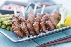 Kushiyaki. Butabara (belly pork). Japanese grilled food on skewers Royalty Free Stock Photography