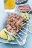 Kushiyaki. Butabara (belly pork). Japanese grilled food on skewers Stock Photos