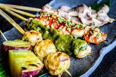 Kushiyaki  Moriawase Chef�s choice of 5 kinds skewers Royalty Free Stock Images