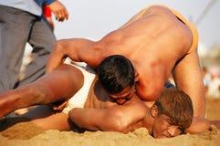 Kushti tournament. Maharasthra kushti championship semi-final in Nagpur city. Kushti is Indian traditional wrestling style. February 2008 Nagpur, Maharasthra Royalty Free Stock Image