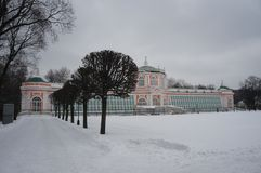 Kuskovo公园在莫斯科 斯诺伊冬天 免版税库存照片