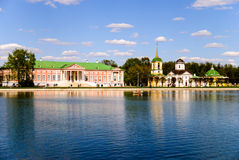 Kuskovo庄园的池塘 库存照片