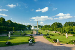 Kuskovo Estate. Garden between the Orangerie and the Palace in Kuskovo Estate. The Orangerie at background. The object of the cultural heritage of the Russian Stock Photos